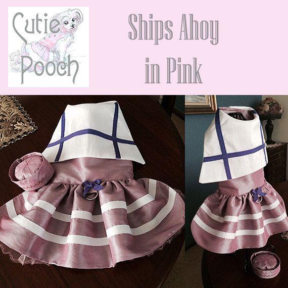 Ships Ahoy in dusky pink custom made designer dog por CutiePooch