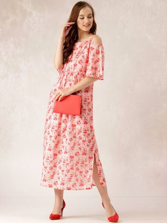 5775e079a6a Libas Women Pink Printed Cold-Shoulder Maxi Dress -
