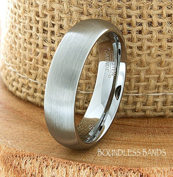 Tungsten Wedding Ring Dome Shaped Brushed Mens Band Custom Engraved Any Design Couple