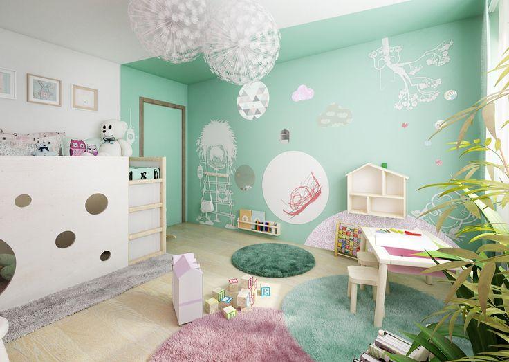 Fotorealistická vizualizace dětského pokoje pro malou slečnu. Interiér je barevný, hravý, obsahuje vše co malá princezna potřebuje.   www.liniedesign.cz