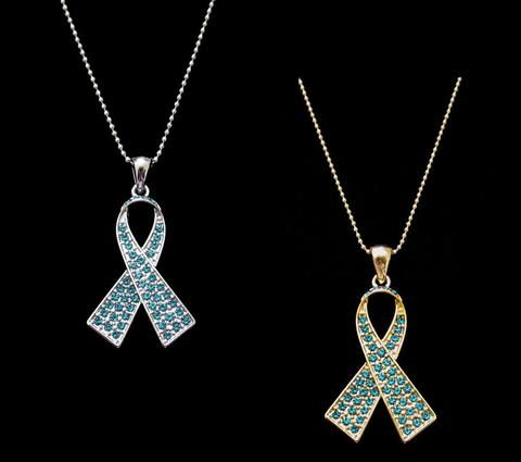 Teal Ribbon Ovarian Cancer Awareness Pendant Necklace