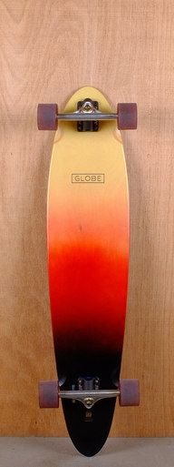 "The Globe Prebuilt 40"" Pinner Red Black Spray Longboard is designed for cruising and carving."