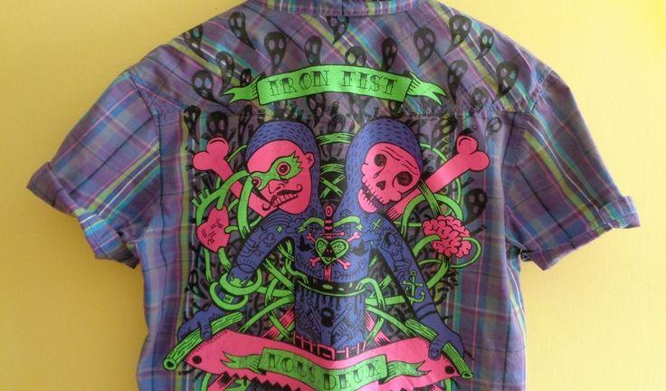 rare -iron fist- check shirt-ninja tears-skulls acid printed lazy dead dollskill