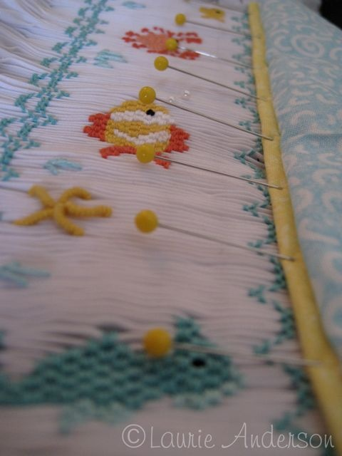 Tutorial on lining up piping with a smocked insert.