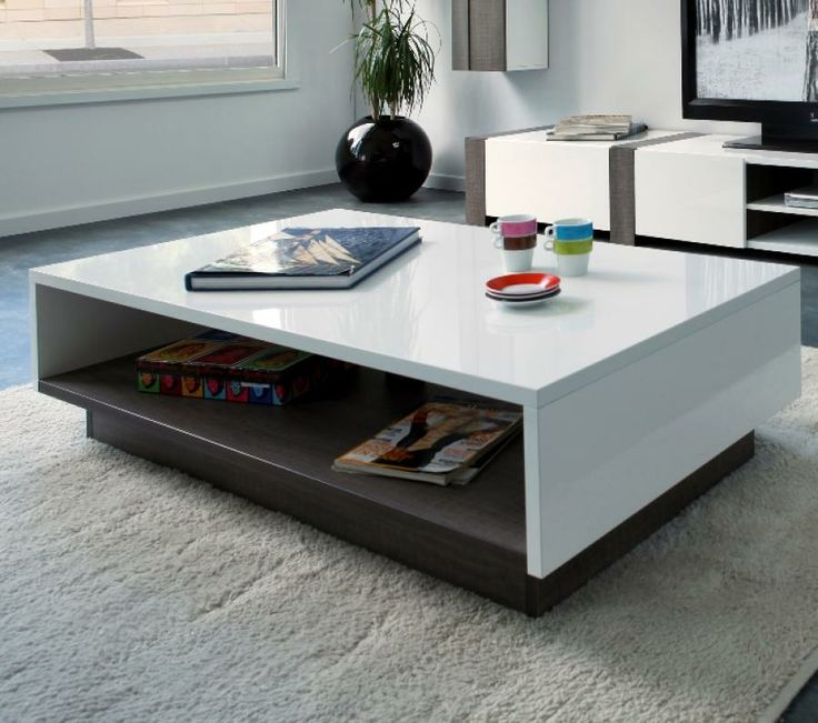 Montreal Bicolour Coffee Table In White High Gloss And Liquorice Oak Foil Veneer