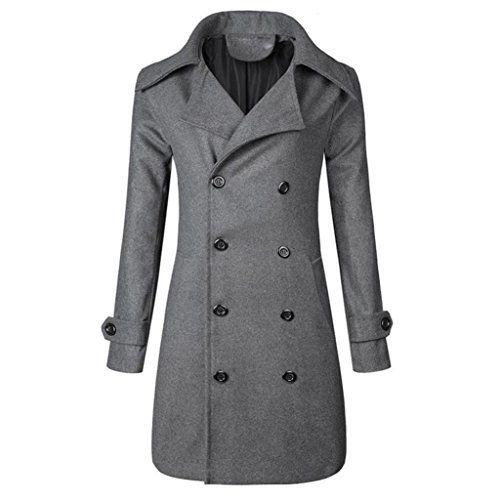 47d97518a5982 Männer Winter Warm Jacke Mantel Outwear Schlank Lange Trench Knöpfe Mantel  (3XL Grau).