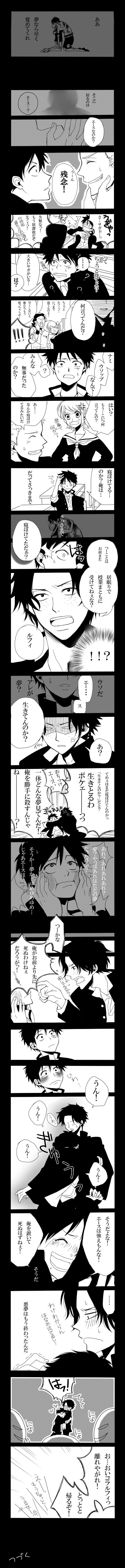 """Aa If it's a dream, wake up quickly Over there is Ace...? Luffy: Ace, is it you? Sabo: Nope, too bad. Luffy: Ugya! Sa...Sabo Sabo: (idk) Luffy: Wait a minute? There's a big Sabo Sabo: Eh? (it's actually """"ha?"""") Sabo: What are you talking about? Nami: Hey Luffy! How long are you gonna sleep? Usopp: We're gonna leave if you don't hurry up~ Luffy: Nami Usopp What? You're all ok? Nami: What? What the hell are you saying? Ok? What is? Sabo: Ah... He seems half asleep Luffy: I'm half asleep? But…"""