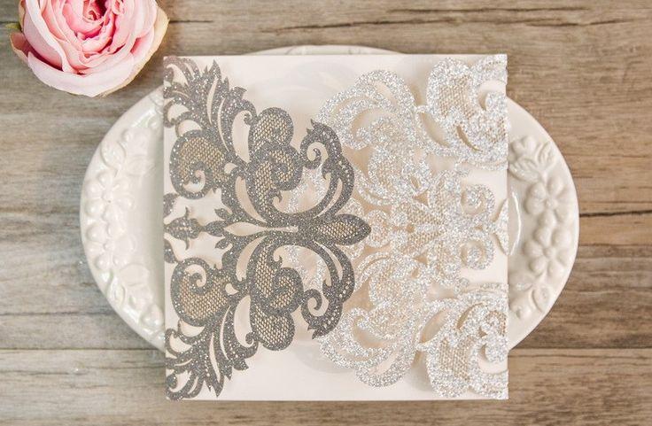 Gorgeous Lace Glitter Paper Laser Cut Wedding Invite