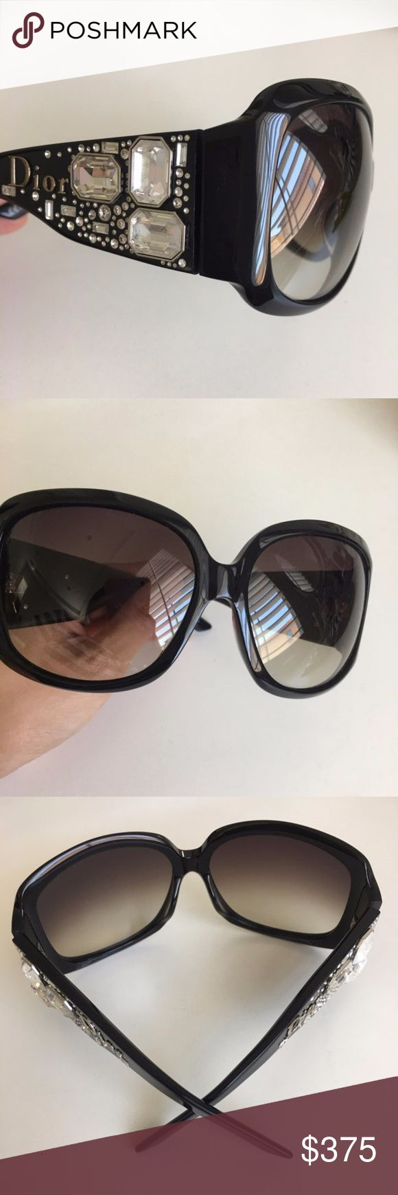 """NEW Authentic Limited Edition Dior Sunglasses 100% authentic and rare Christian Dior """"Dior on The Rocks"""" shield sunglasses! Limited edition so they are very hard to find. Glamorous and definitely a must-have for your closet. Stunning embellishments and classic frame. NEVER WORN and in perfect condition. No case. No trades or lowballs please! Dior Accessories Sunglasses"""