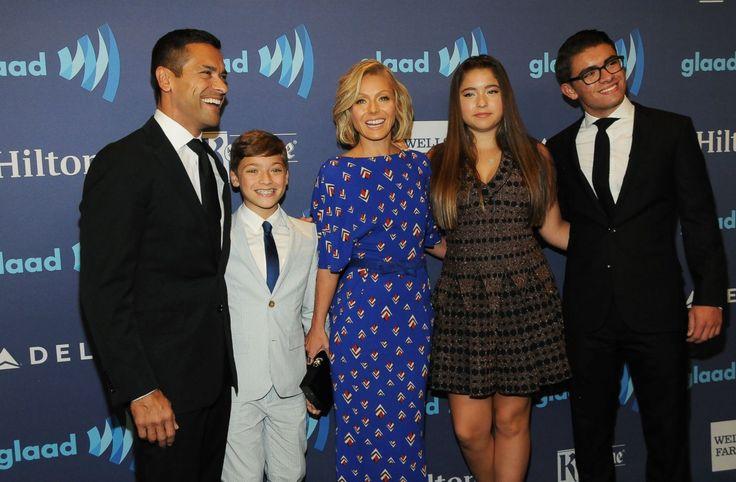 Mark Consuelos, Joaquin Consuelos, Kelly Ripa, Lola Consuelos and Michael Consuelos attend the 26th Annual GLAAD Media Awards at The Waldorf Astoria, May 9, 2015, in New York.