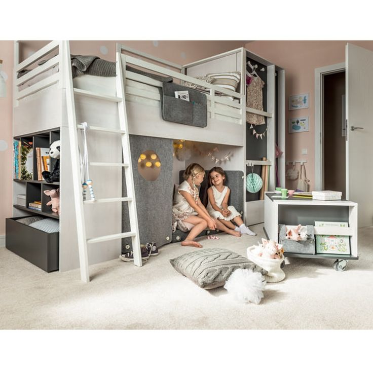 The Nest Childrens Cabin Bed is an exceptional kid's bed from the innovative brand Vox. Please do watch the video below to understand how amazingly versatile this bed is. As standard, this unique mid sleeper comes with built-in graphite coloured shelves and a fixed ladder to the left of the bed. You then have the option to add a fantastic range of movable storage options, including a desk, a deep drawer with shelves, a hanging rail and a low table with storage - all of which will fit unde...