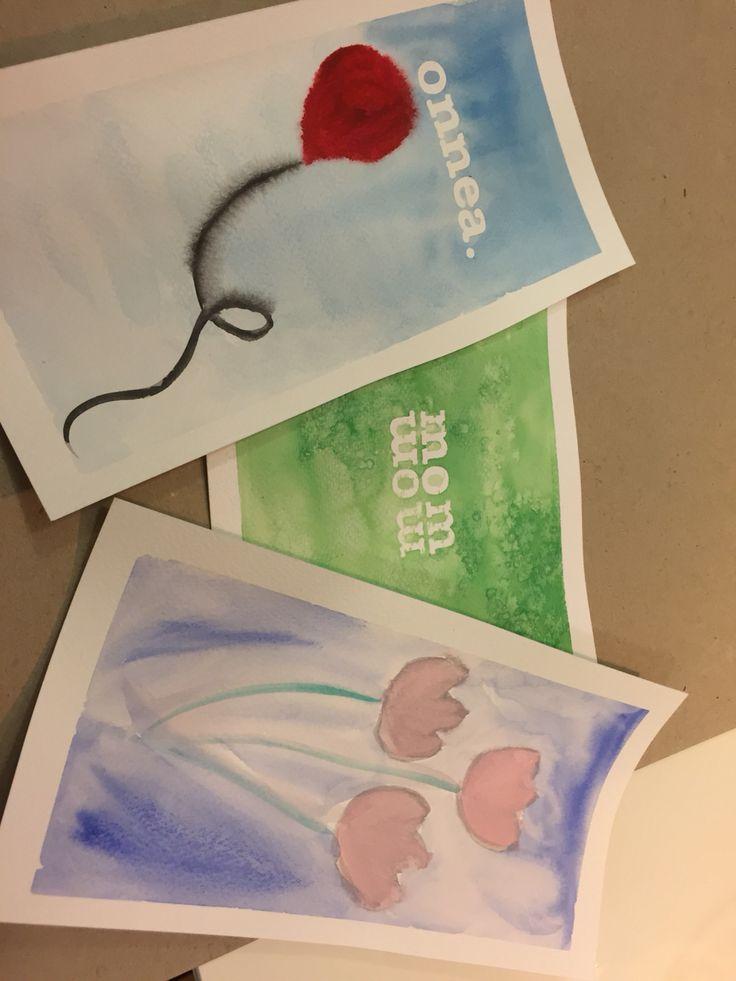 Akvarellikortit (kirjaintarrat, märkää märälle, suola)