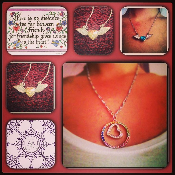 Layal glyfada heart and heart with wings necklaces