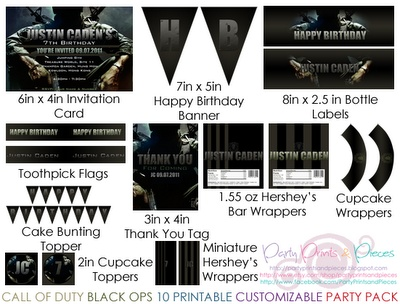 Here's a Call Of Duty Black Ops DIY Printable and Customizable Party Pack. And yes! This includes an invitation Card! All you'll need for your next Call of Duty Black Ops Party! A total of 10 printable for only $35.00 usd!