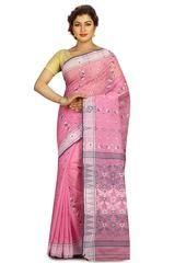 Pink Color Cotton Dhakai Buti Party Wear Sarees : Trishnani Collection YF-62970