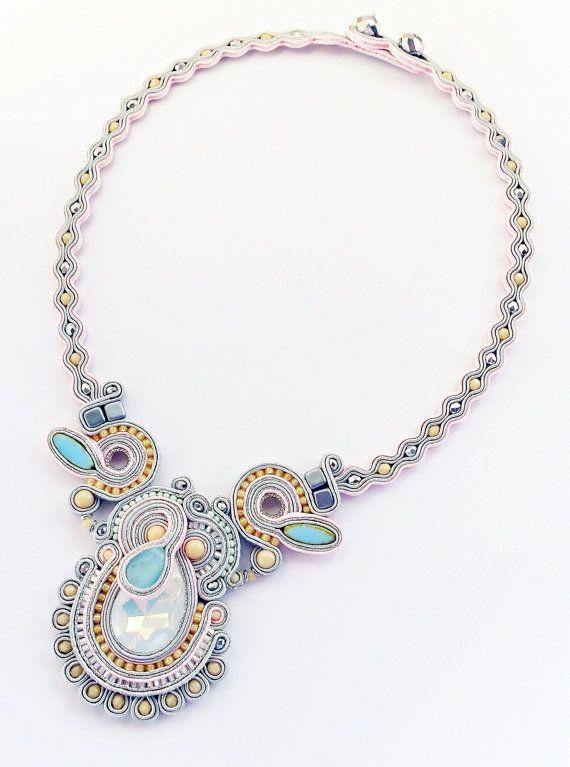 Wedding soutache jewelry. Soutache necklace by Soutachebypanka