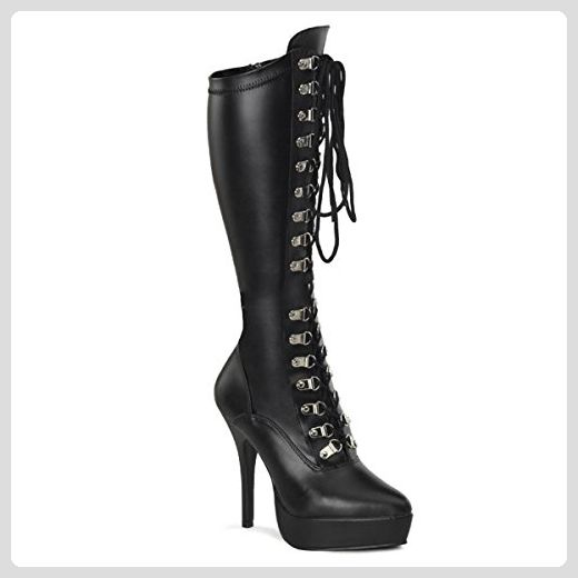 Pleaser Electra-2020 - Sexy Komfort Plateau-Stiefel High Heels 36-48, Größe:EU-46 / US-15 / UK-12