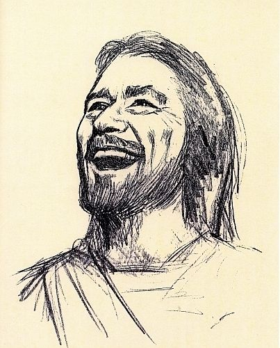 "My favorite sketch of Jesus. ""Jesus Laughing"""