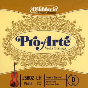 D'Addario J5802 LH Pro-Arte Nylon Viola Strings, Heavy by D'Addario. $10.10. Helicore viola strings are crafted with a multi-stranded steel core, making for optimum playability and producing a clear, warm tone. The smaller string diameter provides quick bow response. Premium quality materials combine with skilled workmanship to craft strings with excellent pitch stability and longevity. Sized to fit long-scale viola (body length 16-16 1/2 inches) with a playing le...
