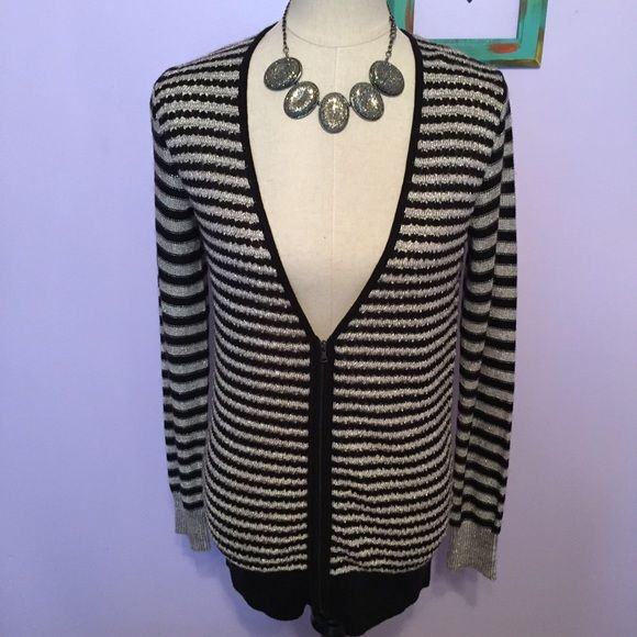 """Ann Taylor LOFT black silver zip up cardigan NWT! Size medium. Colors are black and metallic silver. Perfect to pair with a little black dress ! Zips up on front. Length when laid flat: 31"""".  no trades Paypal  LOFT Sweaters Cardigans"""