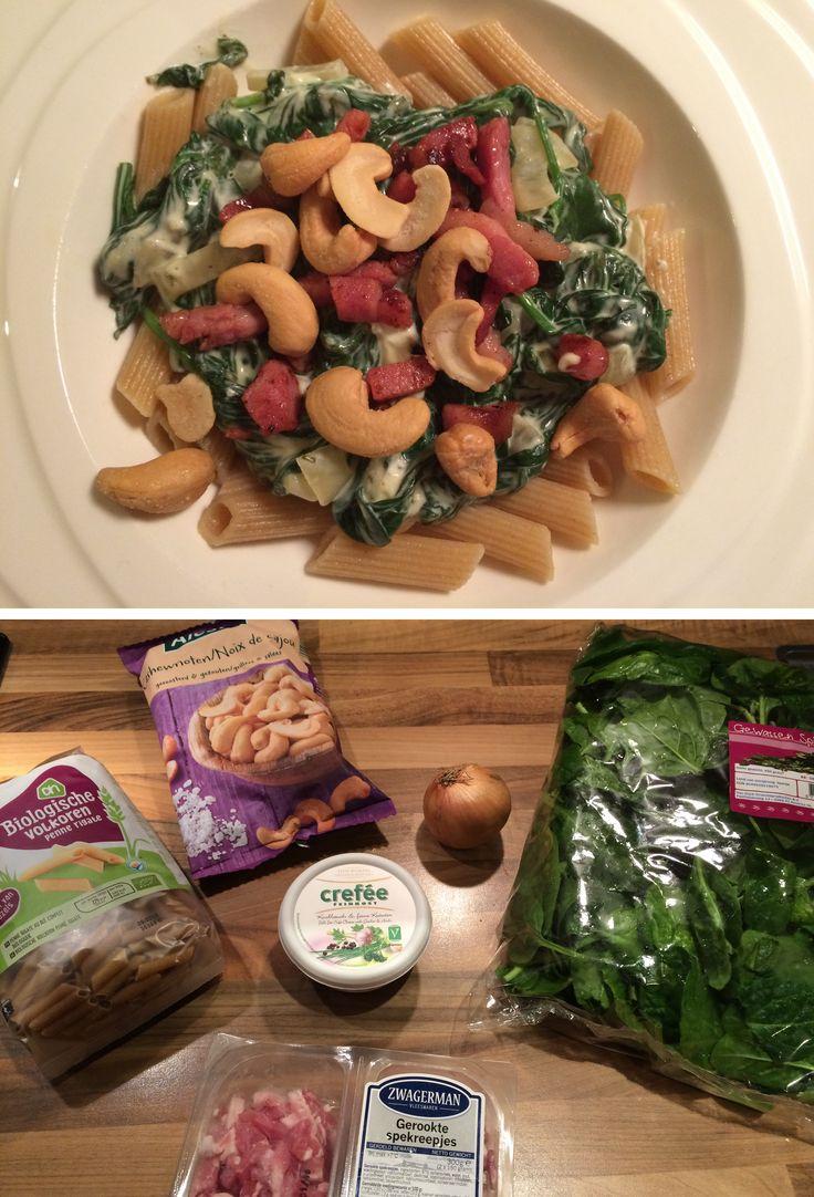 Dit pastagerecht met verse spinazie, Boursin en spekjes is super lekker en heel snel klaar! Maak hem zelf met het recept op de website.