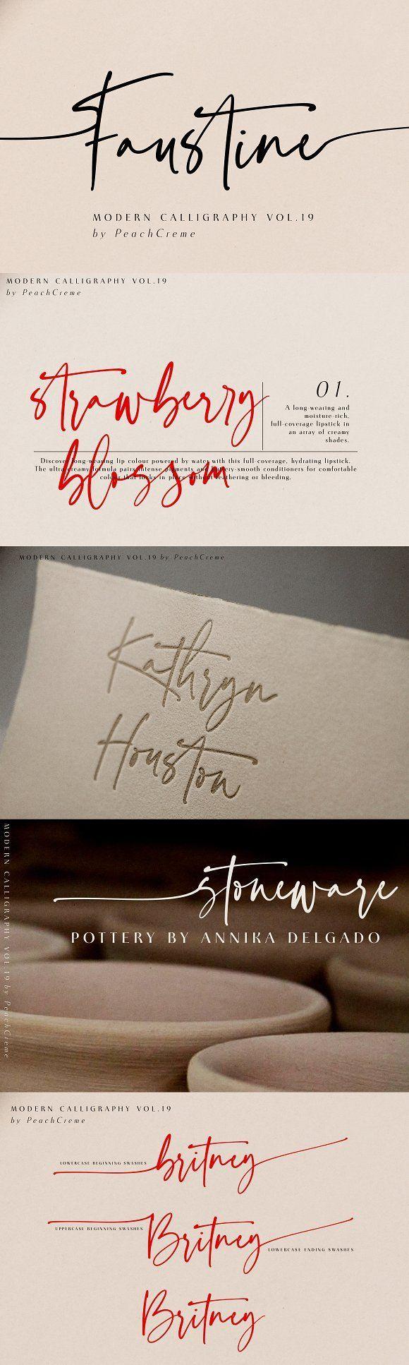 Faustine Modern Script Lettering Typographie Police D Ecriture