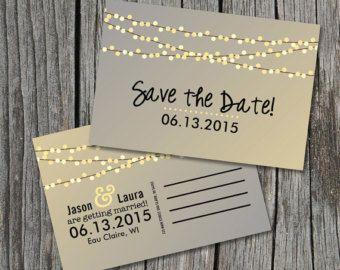 DIY Printable - Save the Date Postcard - String of Lights