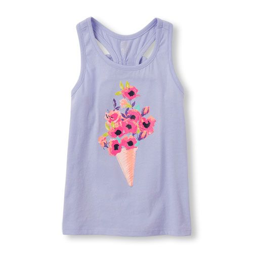 Girls Sleeveless Embellished Graphic Bow Racer-Back Top - Purple - The Children's Place