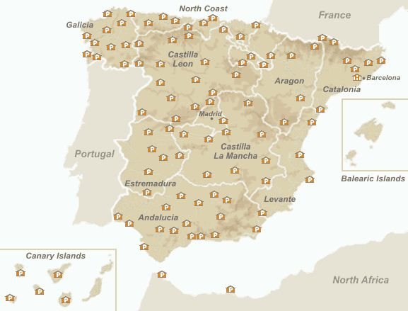 Map of the Spanish Paradores - Accommodation in Spain Interesting Accommodations