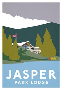 jasper park lodge | in the style of the old Canadian Pacific posters, I've illustrated a version of the JPL. There didn't seem to be a historic one of the lodge itself. Maybe the unexpected late snowfall today made me dream of getting away to the mountains and staying in a cabin by the lake. I'll appease myself with a hot chocolate and pretending I'm relaxing in an adirondack chair with a cool breeze on my face.