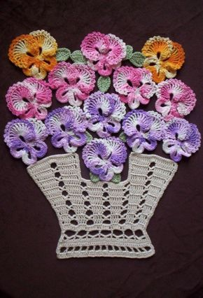 """New Handmade Crochet """"Bakers Dozen Basket of Pansies"""" Doily with Life Size Pans"""