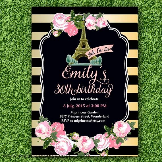 Shabby Chic Birthday Invitation for any age Paris by miprincess