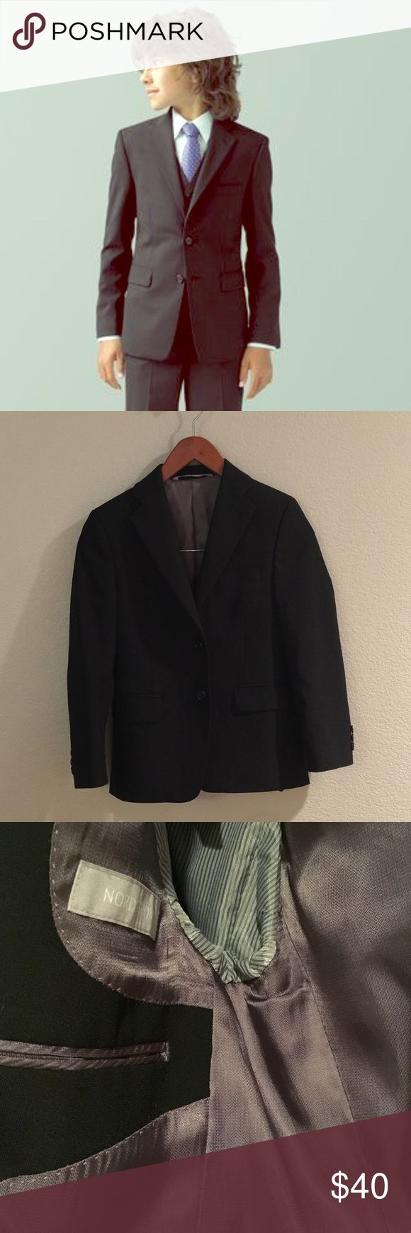 Nordstrom suit blazer boys Like new condition.  Fully lined.  Great quality.  Shoes and Button shirt are also available on page. If your interested in shirt and pants lmk, I have not posted them yet Nordstrom Jackets & Coats Blazers