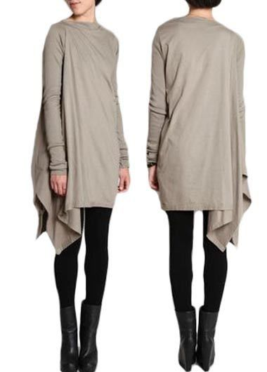 Long Sleeve Round Neck Asymmetric Mini Dress   Rosewe.com - USD $27.21