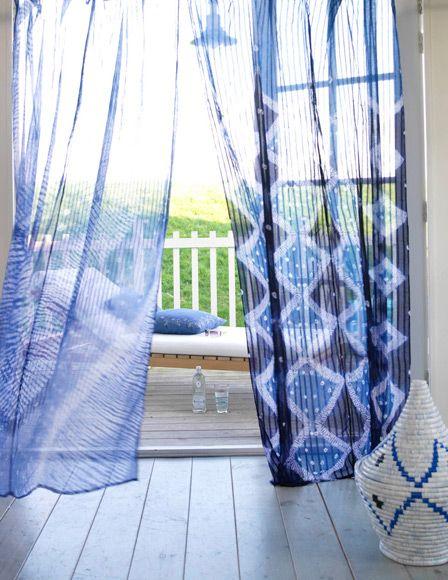 floaty blue door curtains