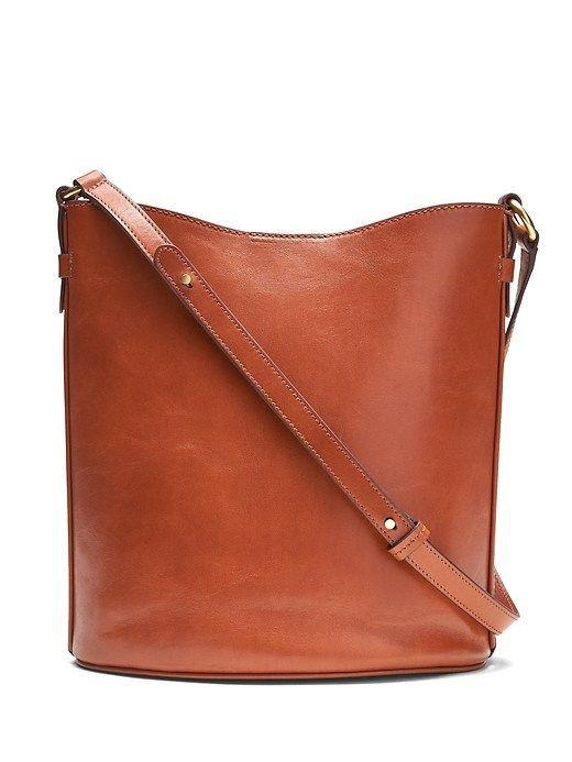 4c1df44c5ffa9 Banana Republic Womens Italian Leather Large Bucket Bag Nutmeg Brown Size  One