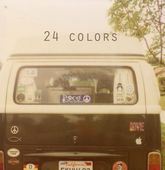 24 Colors is a book filled with gorgeous Polaroid photographs of VW vans inspired by the colors you'd find in a box of crayons. Photos by kristengeraci on Etsy
