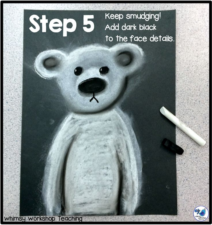 Adorable polar bear art step by step tutorial and photos of results