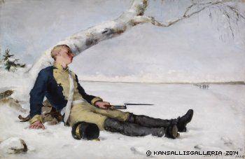 Schjerfbeck, Helene Haavoittunut soturi hangella, 1880