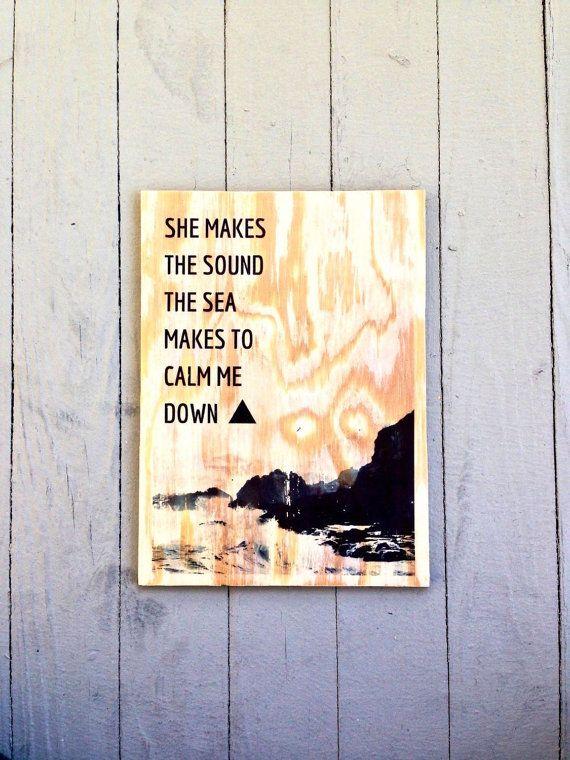 Alt-j - alt j - alt-j art - alt j art - dissolve  me - alt-j lyrics - wood art - handmade wood art - wood wall hanging - mixed media - ocean