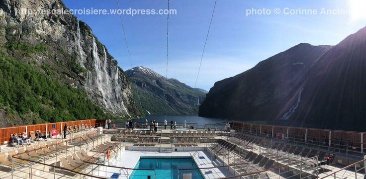 Costa Classica dans le Geiranger Fjord - sous la cascade des 7 soeurs - Norvège - 28 mai 2014