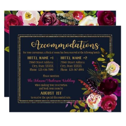 Boho Fall Floral Bouquet Navy Accommodations Card - gold wedding gifts customize marriage diy unique golden