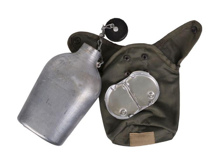 Фляга алюминиевая в чехле с подогревателем Франция olive 2 кат.