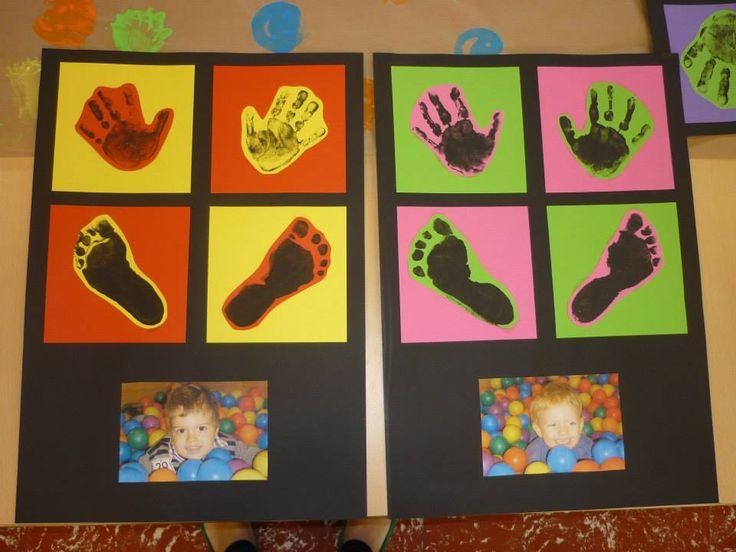 handjes en voetjes afdrukken + foto in ons ballenbad Leuk als voorkant voor nieuwjaarsbrief
