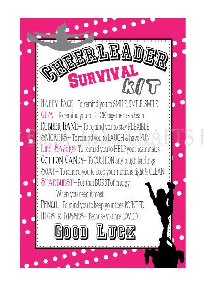Cheerleading Survival Kits- Cheer Gifts- PDF file Survival Kit- CUSTOM colors- Customized