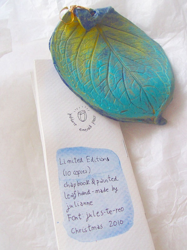 Hand-painted chapbook of quotes and painted pottery leaf bookmark - one of my home-made gift ideas