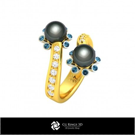 3D CAD Ring with Pearls