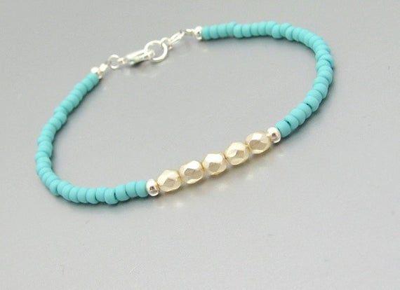 Pearl Turquoise Beaded Chain Bracelet Dainty Chain Bracelet Freshwater Pearl and Turquoise Crystal Glass Beaded Bracelet Gold Chain
