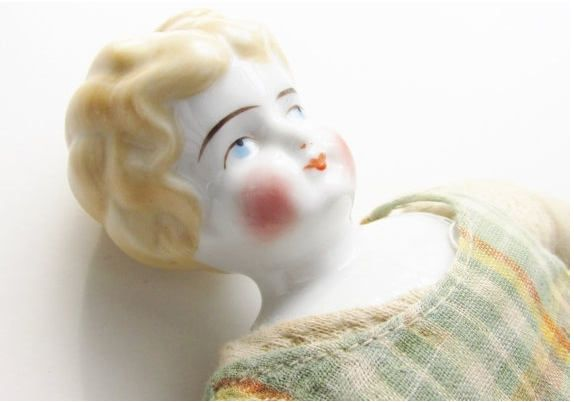 German China Blond Head Low Brow Doll by Hertwig Antique 13 inches