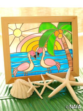 Stained Glass Flamingos